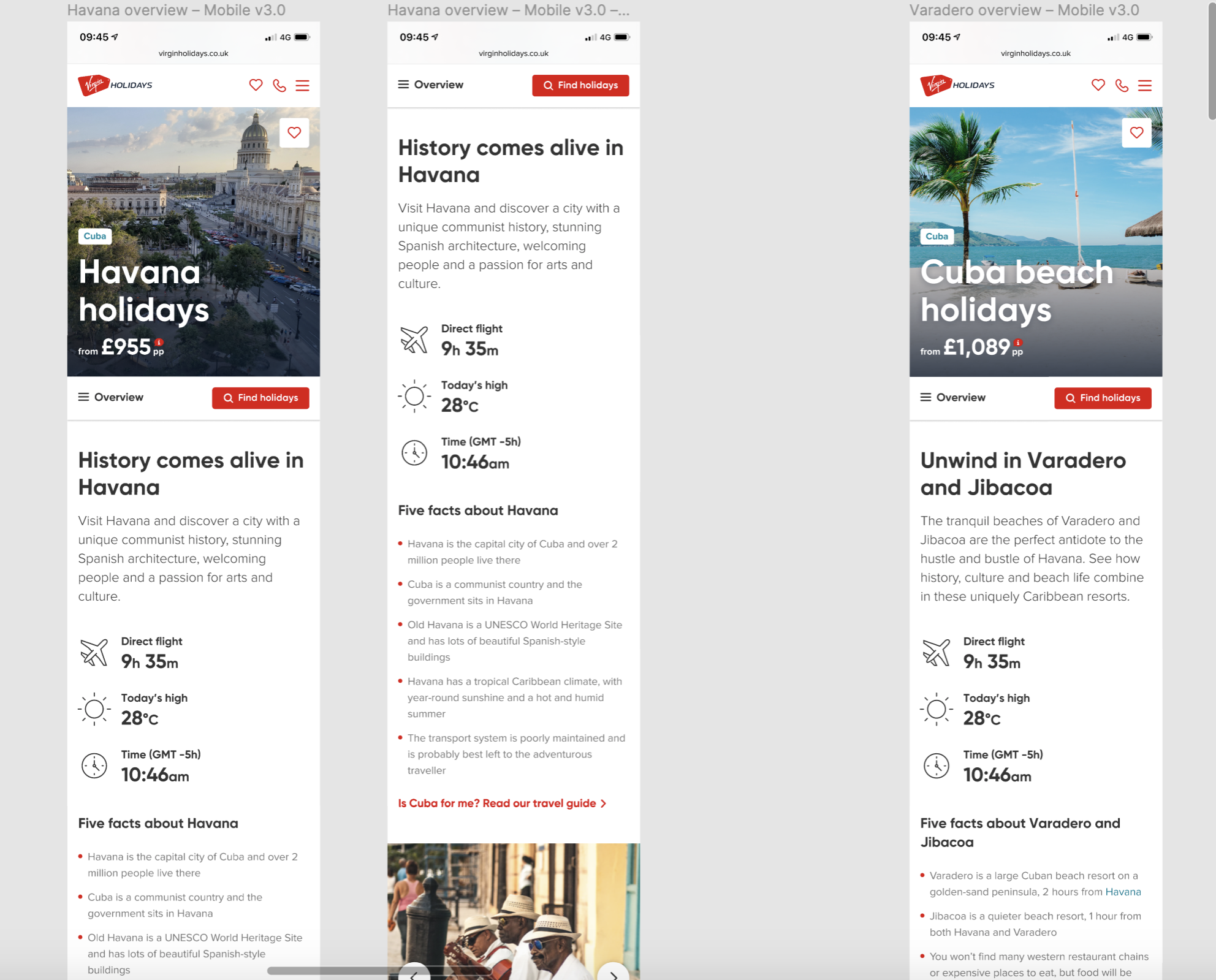 Destination content for Havana and Varadero, Cuba